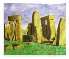 Golden Stonehenge Fleece Blanket