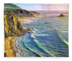 Golden Sunset At Big Sur Fleece Blanket