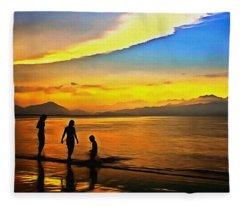 Golden Sunset Silhouettes Fleece Blanket