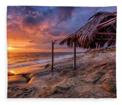 Golden Sunset The Surf Shack Fleece Blanket