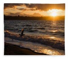 Golden Wings Golden Water Fleece Blanket