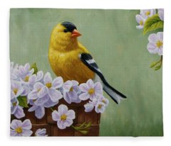 Goldfinch Blossoms Greeting Card 3 Fleece Blanket