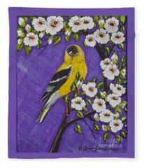 Goldfinch In Pear Blossoms Fleece Blanket