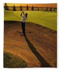 Golfer Taking A Swing From A Golf Bunker Fleece Blanket