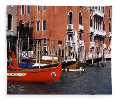 Gondolas In A Canal, Grand Canal Fleece Blanket