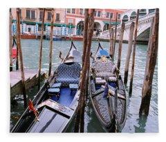 Gondolas Moored Near A Bridge, Rialto Fleece Blanket