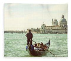 Gondolier With Tourists In Venice Fleece Blanket