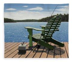 Gone Fishing Aka Fishing Chair Fleece Blanket
