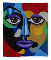 Colorful Illusion Abstract Face Art Painting, Big Brown Eye Art, Optical Artwork Fleece Blanket