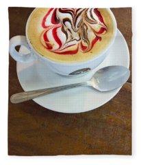 Gourmet Latte With Red And Brown Swirls Fleece Blanket