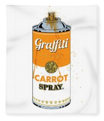 Graffiti Carrot Spray Can Fleece Blanket