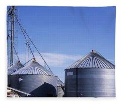 Grain Storage Bins, Nebraska, Usa Fleece Blanket