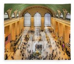 Grand Central Terminal Birds Eye View I Fleece Blanket