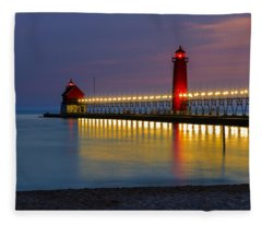 Grand Haven South Pier Lighthouse Fleece Blanket