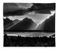 Grand Teton Light Beams Fleece Blanket