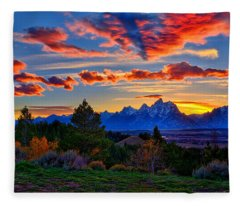 Grand Teton Sunset Fleece Blanket