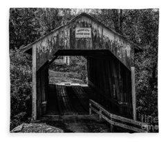 Grange City Covered Bridge - Bw Fleece Blanket