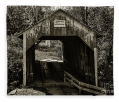 Grange City Covered Bridge - Sepia Fleece Blanket