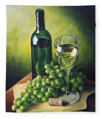 Grapes And Wine Fleece Blanket