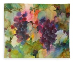 Grapes In Light Fleece Blanket