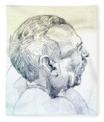 Graphite Portrait Sketch Of A Man In Profile Fleece Blanket