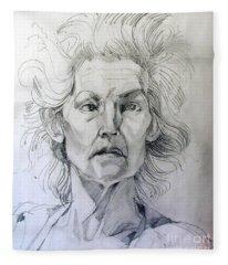 Graphite Portrait Sketch Of A Well Known Cross Eyed Model Fleece Blanket