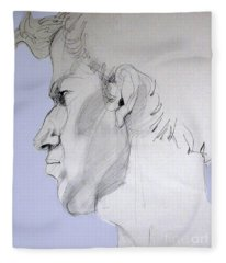 Graphite Portrait Sketch Of A Young Man In Profile Fleece Blanket