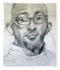 Graphite Portrait Sketch Of A Young Man With Glasses Fleece Blanket