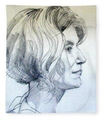Portrait Drawing Of A Woman In Profile Fleece Blanket