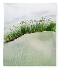 Grass On The Sand Dunes With Fog Fleece Blanket