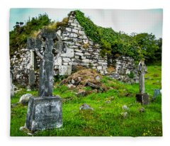 Graveyard And Church Ruins On Ireland's Mizen Peninsula Fleece Blanket