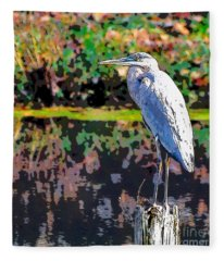 Great Blue Heron At The Pond Fleece Blanket