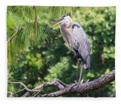 Great Blue Heron I Fleece Blanket