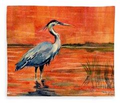 Great Blue Heron In Marsh Fleece Blanket