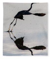 Great Blue Heron Takeoff Fleece Blanket