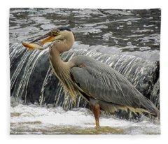 Great Blue Heron With Fish Fleece Blanket