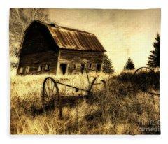 Great Grandfather's Barn II Fleece Blanket