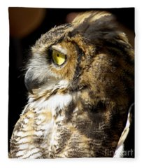 Great Horned Owl Glare Fleece Blanket