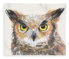 Great Horned Owl Watercolor Fleece Blanket