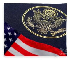 Great Seal Of The United States And American Flag Fleece Blanket