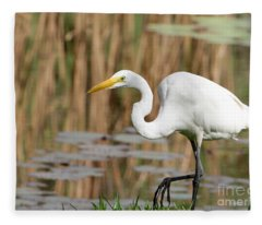Great White Egret By The River Fleece Blanket