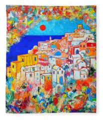 Greece - Santorini Island - Abstract Impression From Oia At Sunset - A Moment In Time Fleece Blanket