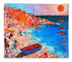 Greece - Santorini Island - Fishing Boat On Akrotiri Beach At Sunrise Fleece Blanket