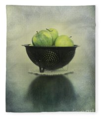 Green Apples In An Old Enamel Colander Fleece Blanket
