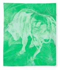 Green Bull Negative Fleece Blanket