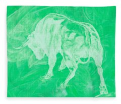 Green Bull Negative Fleece Blanket