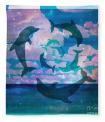 Green Dolphin Dance Fleece Blanket