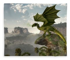 Green Dragon Fleece Blanket