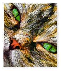 Green-eyed Tortie Fleece Blanket