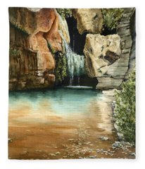Green Falls II Fleece Blanket